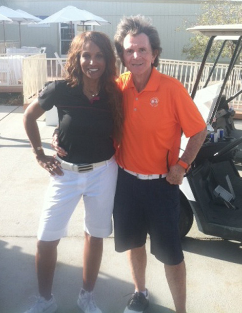 With Nita's fellow model friend Beverly Johnson at Eagle Falls Country Club